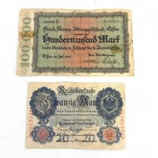20 Mark 1910 and 100,000 Mark 1923