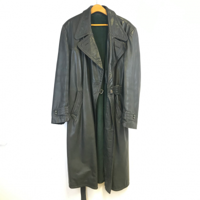 WWII Nazi German SS Green Leather Coat