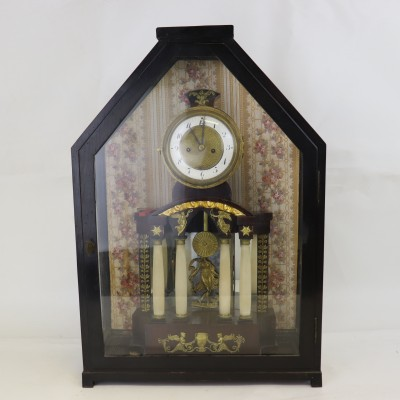 Antique Clock in the Glass Showcase - Biedermeier