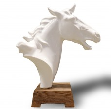 Ceramic Statue - Horse Head - White