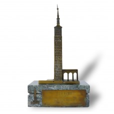 Brass Model Building - Marble pedestal