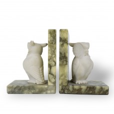 2 Statues in the Shape Owl - Book holder - Green Marble / Plaster