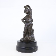 Older Brass Statue - Woman - Wooden pedestal