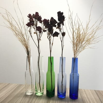 192x Glass vases in the shape of a bottle - colored - Philippi