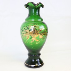 Glass vase with Gold painting - 20th Century