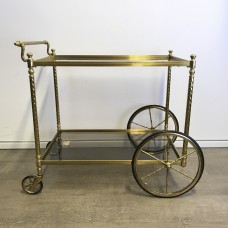 French Brass Serving Bar Cart 1950s