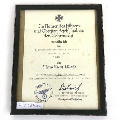 Signed document Sepp Dietrich
